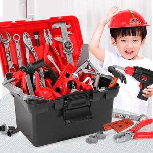 Image 3 - Детский набор инструментов инженер Моделирование Инструменты для ремонта игрушка Ax столярное сверло комплект отверток для ремонта играть набор игрушек для детей подарок