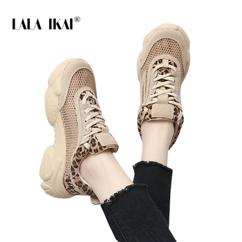 LALA IKAI Female Soft Leopard shoe side Sneakers Lace-Up  Leisure  Autumn Spring Mesh Vulcanize Shoes  014A3840-4 1