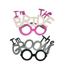 2pcs I'm The Groom I'm The Bride Glasses Funny Novelty Creative Photo Prop Eyeglass Fancy Dress Props for Bridal Shower Wedding(China)