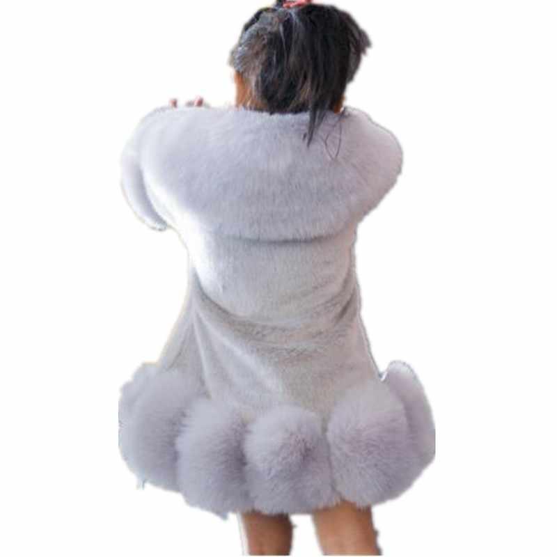 לילדים פרוותי פו מינק פרווה מעיל תינוקת בגדים ארוך שרוול ילדים חמים סתיו החורף מעובה כותנה תינוקות הלבשה עליונה N109