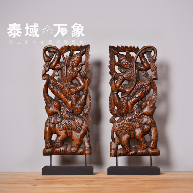 Thai buddha figures carved wooden ornaments handmade decorative