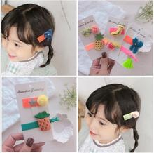 New kids candy colors hair bands clips Korean japanese girls accessories cotton fruit children Headwear