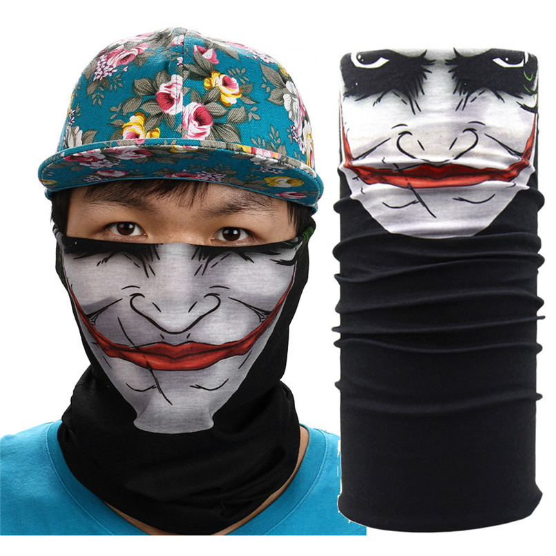 New Halloween Mask Festival Skull Masks Outdoor Motorcycle Bicycle Scarf Half Face Mask Cap Neck Ghost Ski Scarf Balaclava Party evomosa motorcycle mask skull ghost mask biker face shield face masks neck scarf balaclava halloween masquerade mask unisex