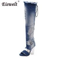 EISWELT Women Thigh High Boots Denim Open Toe Transparent Thick High Heels Pumps Gladiator Sandals Shoes
