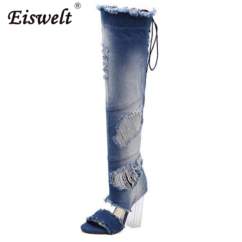 EISWELT Women Thigh High Boots Denim Open Toe Transparent Thick High Heels Pumps Gladiator Sandals Shoes Over The Knee#ZQS192 women shoes high heels high boots with fine denim women s boots