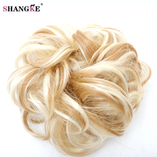SHANGKE Short Curly Hair Tail Heat Resistant Synthetic Hair Rope Synthetic Fake Hair Bun Curly Clip In Hair Extensions