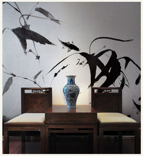 Bacaz Ink Bamboo Leaf Japanese Style Murals for Living Room 3d Photo