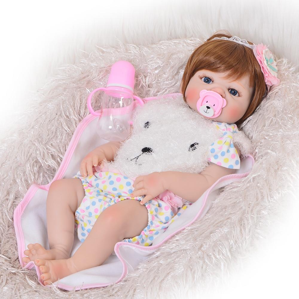 Мода 23 дюймов Reborn для маленьких девочек кукла Полный Силиконовые Винил Bebe Reborn Реалистичная принцесса детская игрушка детей день подарки
