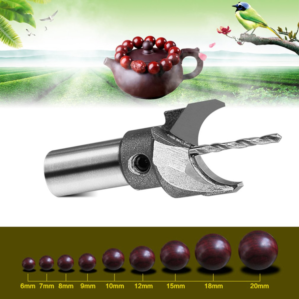 Hard Alloy Cutter 6mm-35mm Router Bit Processing Wooden Bead Ball Cutter Buddha Beads Drilling Bit Tool For Woodworking In Stock 16pcs 14 25mm carbide milling cutter router bit buddha ball woodworking tools wooden beads ball blade drills bit molding tool