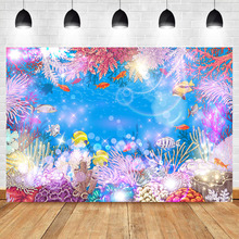 Underwater World Backdrop Fairytale Chirl Kids Birthday Party Background Photography Dessert Table Decorate Photographic Props circus happy birthday backdrop clorful balloon flag photography background kids child birthday party dessert table decorate prop