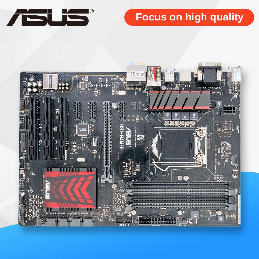 Asus H81-GAMER Desktop Motherboard H81 Socket LGA 1150 i7 i5 i3 DDR3 16G SATA3 USB3.0 ATX used for asus b85m d plus desktop motherboard b85 socket lga 1150 i7 i5 i3 ddr3 16g sata3 micro atx