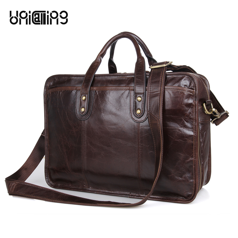 Business bag men leather handbag genuine leather laptop handbag vintage leather men briefcase with double zipper layers spaceBusiness bag men leather handbag genuine leather laptop handbag vintage leather men briefcase with double zipper layers space