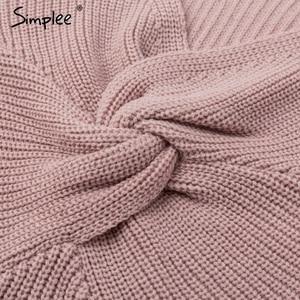 Image 5 - Simplee Off spalla lavorato a maglia sexy del vestito Backless croce di modo manica lunga vestiti delle donne 2018 Autunno inverno maglione casuale del vestito