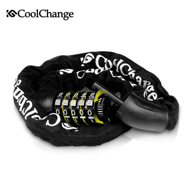 CoolChange Bicycle Cycling Password <font><b>Lock</b></font> 5 Number Safety Anti-theft Mountain Bike Coded Combination Steel Chain Cable <font><b>Lock</b></font> bike