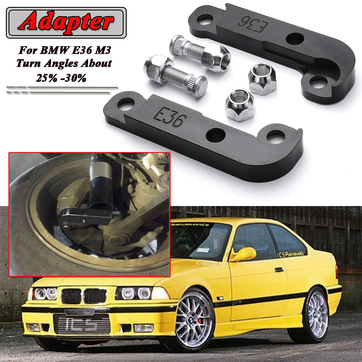 Black/Silver/Red/Blue 2pcs E36 M3 Adapter Tire Increasing Turn Angles About 25%-30% Drift Lock Kit For BMW E36 M3 06CSF005ARD
