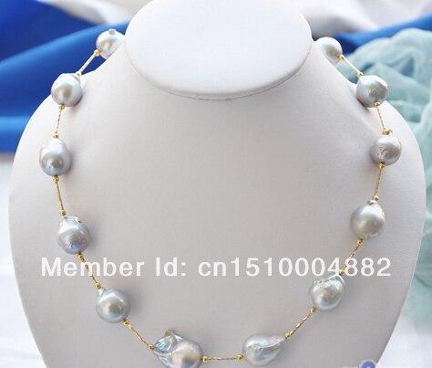 shitou 0020 gray BAROQUE KESHI REBORN PEARL gild drivepipe necklace