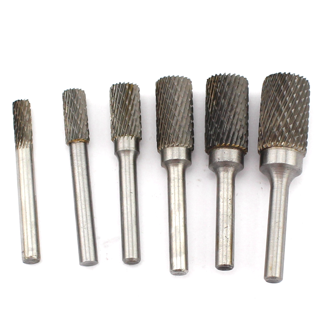 6 8 10 12 14 16mm Head Shape Cylindrical Tungsten Steel Solid Carbide Burrs Cylinder Rotary Tool Drill Bit Dbl End Cut 6mm Shank