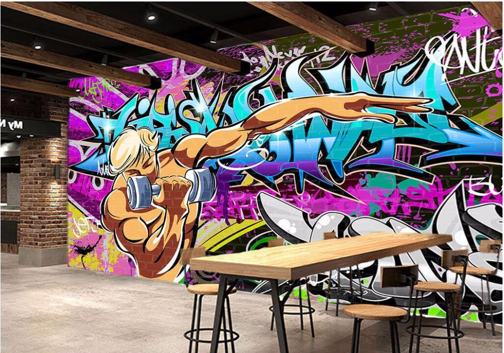 3d room wallpaper custom photo Street graffiti exercise gym picture decoration painting 3d wall murals wallpaper for walls 3 d custom photo 3d ceiling murals wall paper blue sky rose flower dove room decor painting 3d wall murals wallpaper for walls 3 d