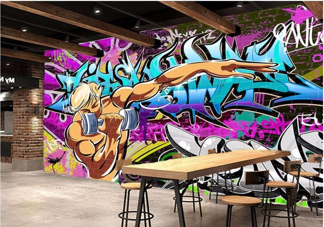 3d Room Wallpaper Custom Photo Street Graffiti Exercise Gym Picture Decoration Painting Wall Murals