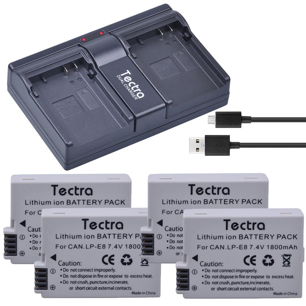 4 pièces 1800 mAh LP-E8 LP E8 Batterie + USB 2 Canaux Chargeur pour appareil photo Canon LP-E8 LP E8 LPE8 EOS 550D 600D 650D 700D Baiser X4 X5 X6i X7i