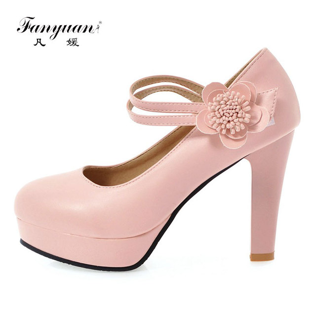 cfa831d318a31f Fanyuan Solid Girls fancy shoes Round Toe Party Wear Footwear Shallow Women s  High Pumps Flower Ankle Strap Mary Janes Shoes