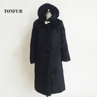 2019 Top Fashion New Arrival Free Shipping Natural Real Rabbit Fur Long Coat Customize Big Size Wholesale Selling Overcoat sr369