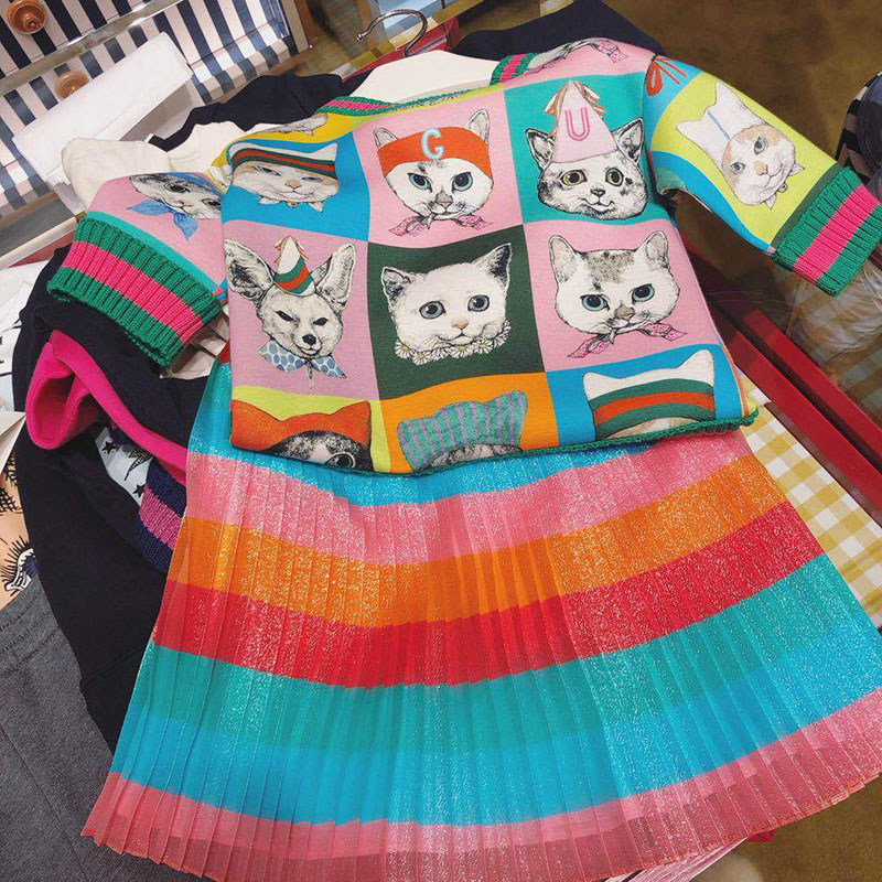 2018 New Brand Spring Autumn Boys Girls Cat Full Pattern Sweatershirt Children Sweater Clothes Cotton Tops 2018 brand new spring