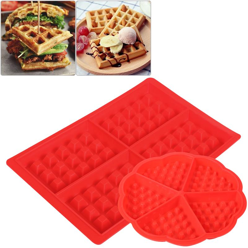 2pcs Silicone Waffles Mould Baking Tool Waffle Shape Chocolate Mold Square & Heart Shape Waffle Molds
