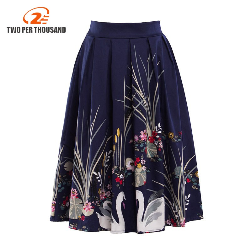 Summer Women Midi Pleated Skirts 2017 Elegant Vintage Swan Printed Ball Gown High Waist Flared Mid-Calf Skirts Saias