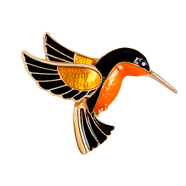 Colorful Glasir Birdie Terbang Derek Merah dinobatkan Flamingo Burung Logam Bros Pin Gaun Jaket Pin Badge Hadiah Perhiasan