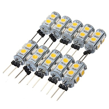 <font><b>10</b></font> X HRSOD High Brightness 1.3W 9PCS 5050SMD <font><b>G4</b></font> LED Bulb Light with DC12V Input, Warm White/Cool White Input image