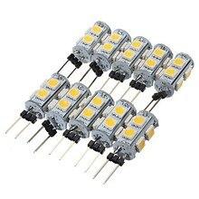 10 X HRSOD High Brightness 1.3W 9PCS 5050SMD G4 LED Bulb Light with DC12V Input, Warm White/Cool White Input