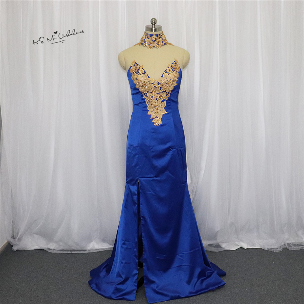 23c5a95ea31f8 Royal Blue Gold Lace Applique Prom Dresses for Women Sexy Split Side Long  Formal Evening Gowns ...