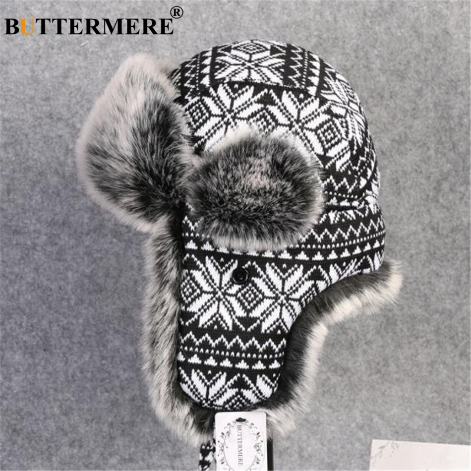 BUTTERMERE Women Men Bomber Hats Male Female Winter Hat Hat Ski Thick Warm Oversized Russian Soviet Ushanka Hat With Ear Flaps(China)