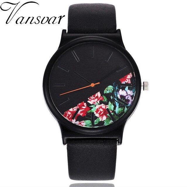 Vansvar Vintage Leather Women Watches Luxury Top Brand Floral Pattern Casual Quartz Watch Women Clock Relogio Feminino