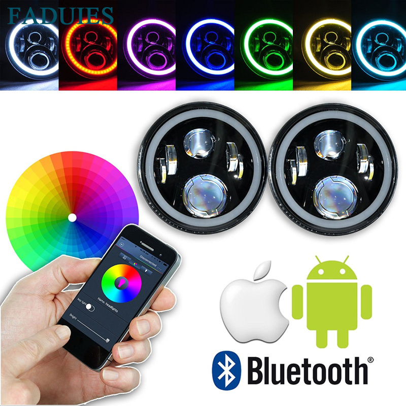 2Psc 7 Inch LED Headlight Assemblies With Multicolor RGB Halo Angle Eye APP Bluetooth Remote For Jeep Wrangler TJ JK Hummer H1