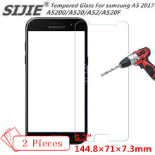 SIJIE 2PCS Tempered Glass For samsung A5 2017 A5200 A520 A52 A520F cover GALAXY Screen Protect protective 5.2 inch free gift for toshiba satellite p55t a5118 p55t a5116 p55t a5202 p55t a5200 p55t a5312 p50t a121 10u p50t a01c 01n touch glass screen