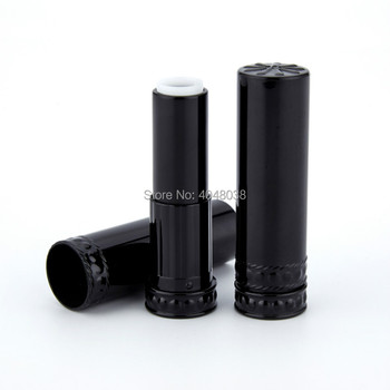 Black Lip Balm Container 12.1mm Plastic Refillable Bottle Empty Round Cosmetic Lipstick Tube Elegant Lipbalm Tubes 50Pcs/Lot