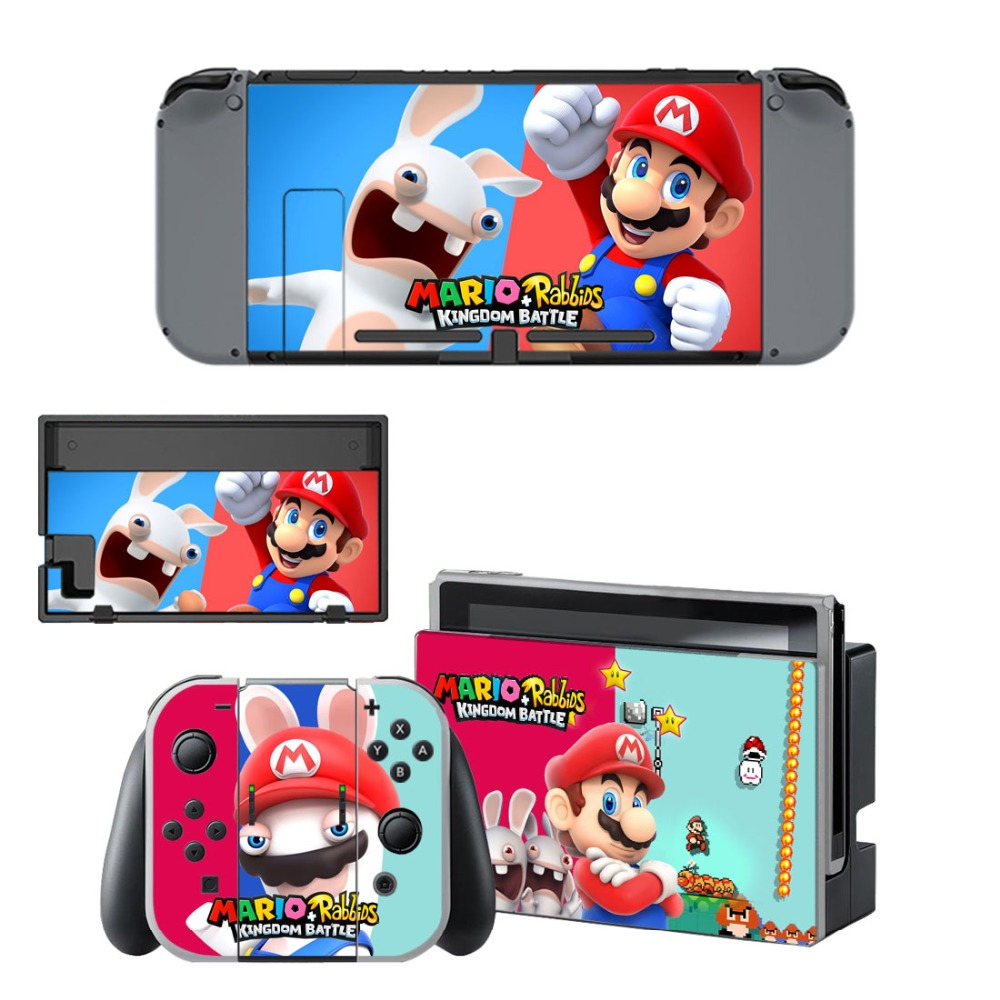 Купить с кэшбэком Nintend Switch Vinyl Skins Sticker For Nintendo Switch Console and Controller Skin Set - For Mario + Rabbids: Kingdom Battle