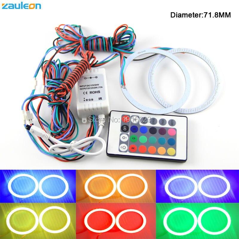 2 шт. LED Ангельские Глазки RGB нескольких цветов 71.8 мм COB Halo Кольцо с Дистанционное управление Тюнинг автомобилей автомобиля-охватывает фар Ан... ...