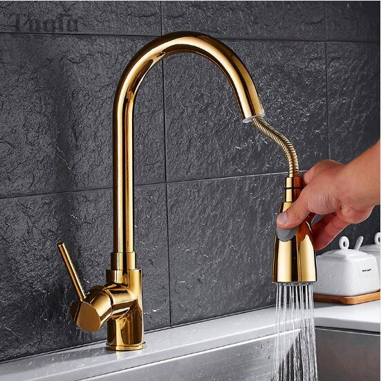 Brass Kitchen Faucet Nickel Black Gold Chrome Cold Hot