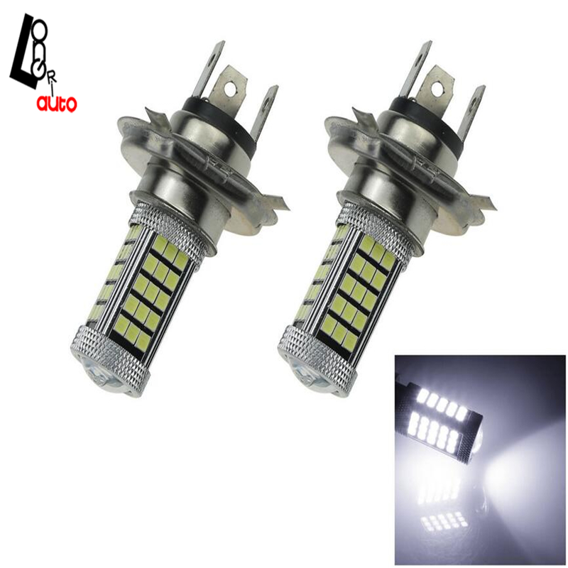 2X H4 White Car Bulb High Power 63 SMD 2835 LED Fog Light  DC 12V H121 Light Bulb 3156 12w 600lm osram 4 smd 7060 led white light car bulb dc 12v