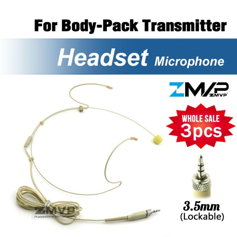 Free Shipping 3pcs Headworn Condenser Headset Microphone For Sennheiser Wireless Body Pack Transmitter 3 5 mm