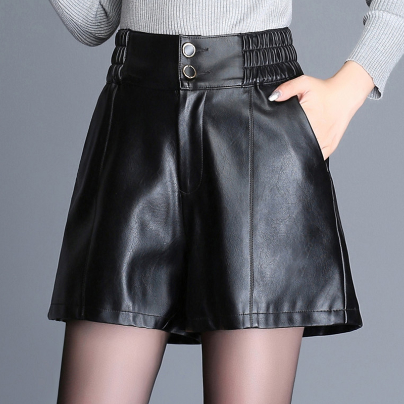 Winter Fall Fashion 3XL 4XL Women Black High Elastic Waisted PU leather Shorts , Autumn Slim Wide Leg Shorts For Woman