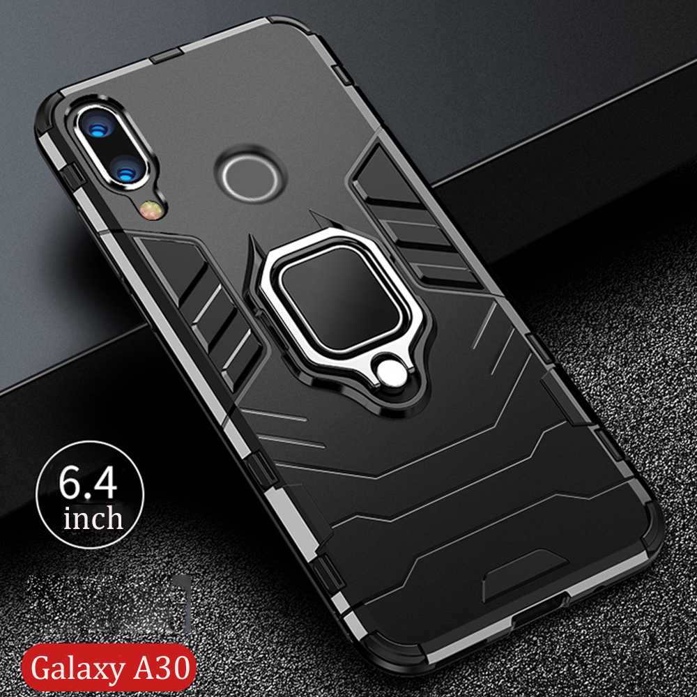For Samsung Galaxy A30 Case Armor PC Cover Finger Ring Holder Phone Case For Galaxy A 30 20 A20 Cover TPU Rim Shockproof Bumper