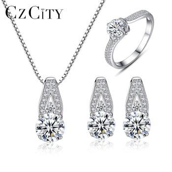 CZCITY, conjunto de joyas de plata esterlina 925 genuinas, elegantes conjuntos de joyería de piedra clásica de circonita cúbica transparente, suministro de joyería de plata para boda para mujer