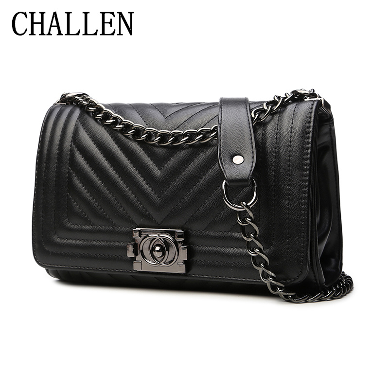 2018 summer Europe and the United States new women's bags fashion V-shaped embossed chain bag Ms. casual shoulder Messenger bag
