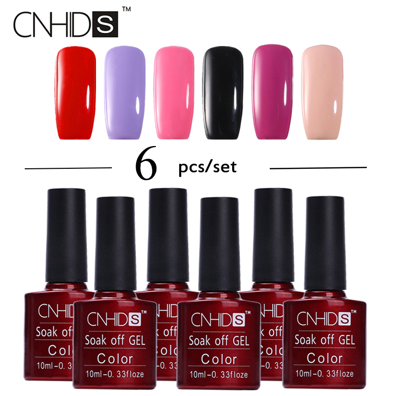 CNHIDS 6Pcs/Lot 7.5ml UV LED Nail Gel Polish Set Long Lasting Soak Off Gel Lacquer Nail Art Nail Gel UV Set Varnish Manicure