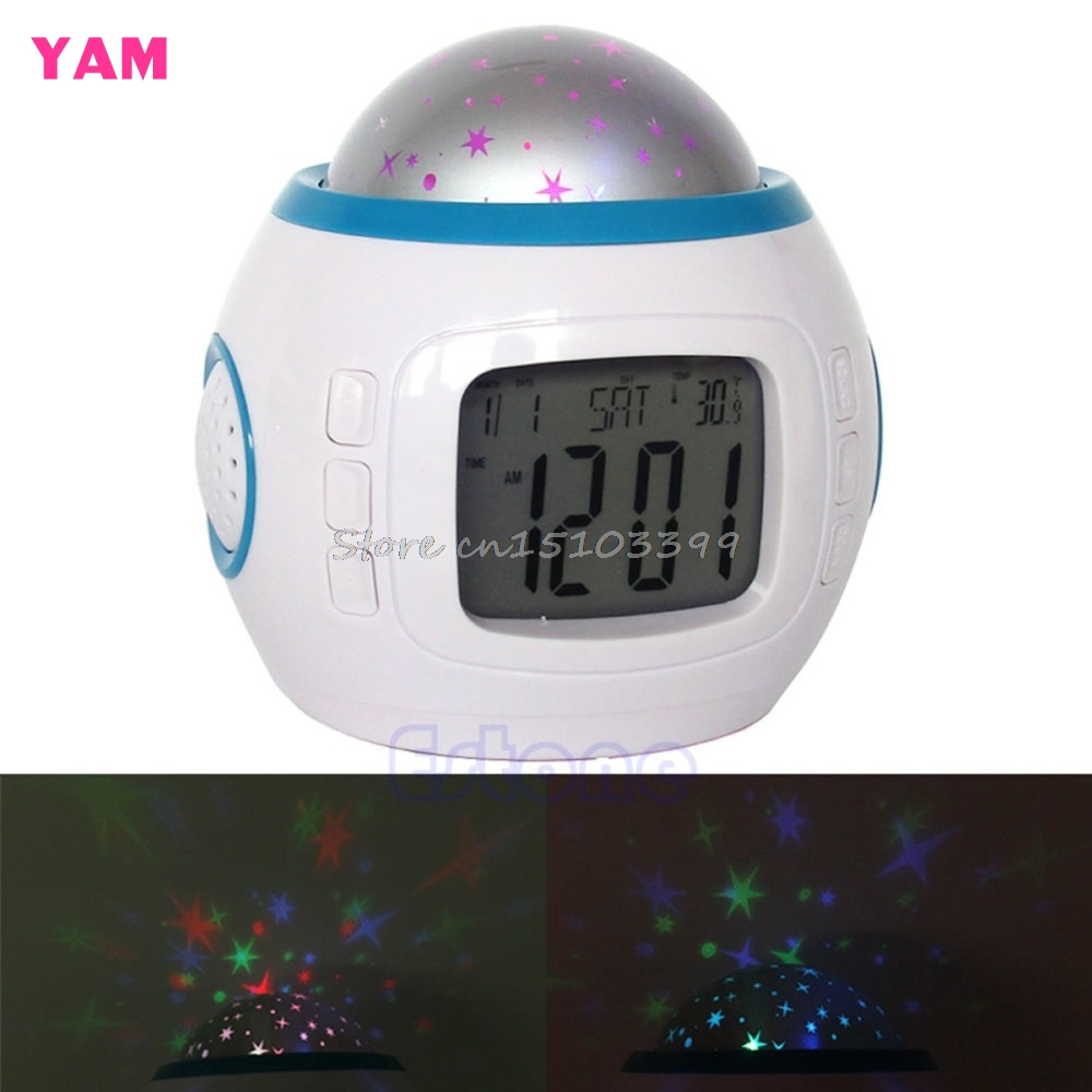 Sky Star Children Baby Room Night Light Projector Lamp Bedroom Music Alarm Clock G08 Drop ship