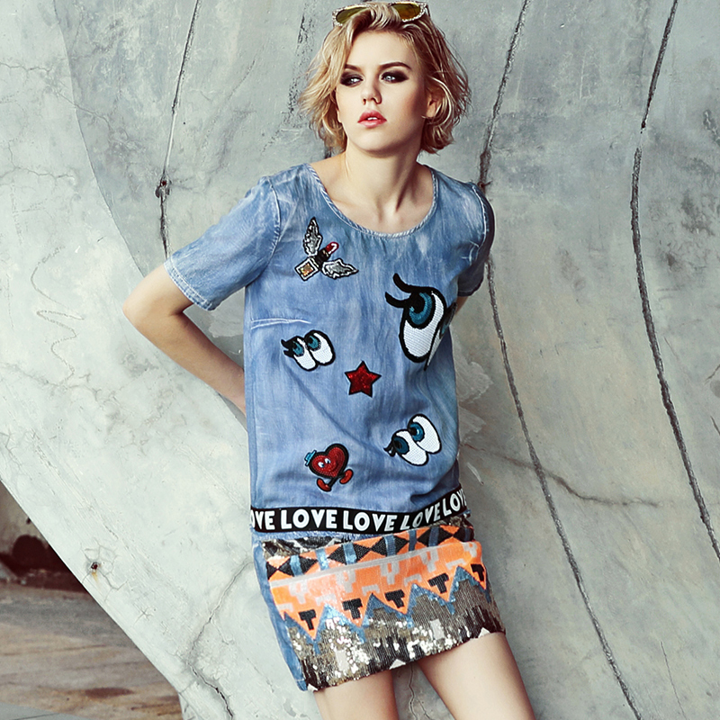 94f390942e35e Preppy Style Sequined Embroidery Denim Long Blouse Casual Women miniDress  Blue Summer Eyes Blouses robe femme vestidos NZ40-in Blouses   Shirts from  Women s ...
